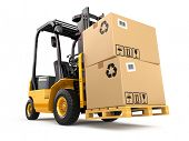 stock photo of lift truck  - Forklift truck with boxes on pallet - JPG