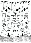 picture of christmas wreath  - Set of Black and White Hand - JPG