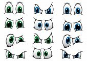 stock photo of anger  - Set of cartoon eyes with blue and green irises showing various expressions from anger - JPG