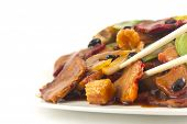 stock photo of sauteed  - Chinese pork and sauteed mixed chinese vegetables with black bean sauce - JPG