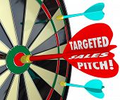 picture of clientele  - Targeted Sales Pitch words on a dart hitting a bullseye to illustrate focusing on selling to potential customers and clients to sell your products or business - JPG