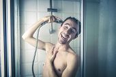 picture of ironic  - Happy man in the shower  - JPG