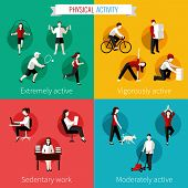 pic of working-dogs  - Physical activity flat set of extremely vigorously moderately active and sedentary work vector illustration - JPG