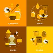 picture of honey bee hive  - Bee honey icons flat set with products bee - JPG