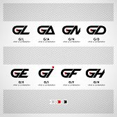 picture of combinations  - Set of Combinations of Letters G and L - JPG