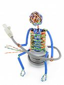 picture of utp  - The stylised little man made of a computer cable sits on spool UTP and looks on connector - JPG