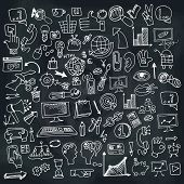 stock photo of drow  - Doodle hand drow business seo sketchy icons on Chalckboard - JPG