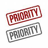 stock photo of priorities  - Priority Grungy ink Red stamp - JPG