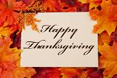 stock photo of thanksgiving  - A Happy Thanksgiving card A beige card with words Happy Thanksgiving over red and orange maple leaf background - JPG