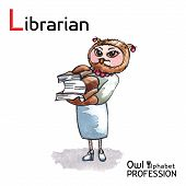 image of librarian  - Alphabet professions Owl Letter L  - JPG