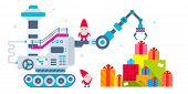foto of gnome  - Vector horizontal Christmas illustration of the gnome operates the machine which has brought a lot of gifts and putting them a pile - JPG