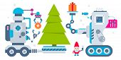 stock photo of gnome  - Vector horizontal illustration of the gnome operates the machines that carry gift and ball to Christmas tree - JPG