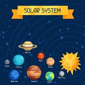 stock photo of earth mars jupiter saturn uranus  - Cosmic illustration with planets of the solar system - JPG