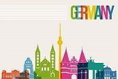foto of world-famous  - Travel Germany famous landmarks skyline multicolored design background - JPG
