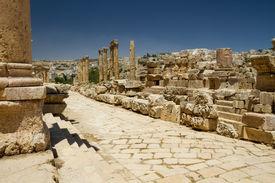 stock photo of cardo  - View on the cardo maximus main road of the Roman city of Jerash  - JPG