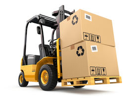 pic of forklift  - Forklift truck with boxes on pallet - JPG