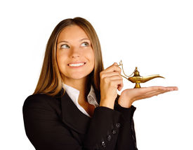 picture of aladdin  - Business woman holding a lamp of Aladdin - JPG