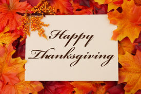 pic of orange  - A Happy Thanksgiving card A beige card with words Happy Thanksgiving over red and orange maple leaf background - JPG