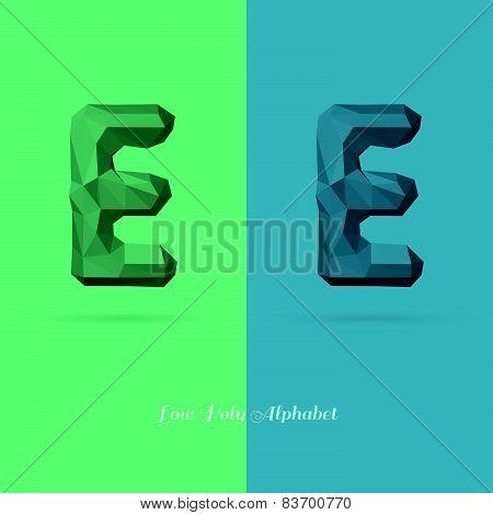 Polygonal Flat Alphabet Letter E