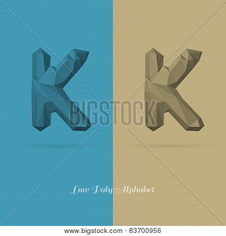 Polygonal Flat Alphabet Letter K