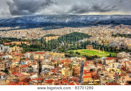 Aerial View Of Athens With The Temple Of Olympian Zeus