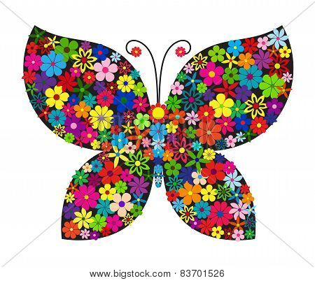 Floral butterfly on black silhouette