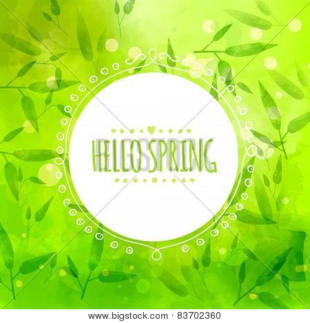 Bright green background with bamboo leaves and stems. White round hand drawn frame. Vector texture.