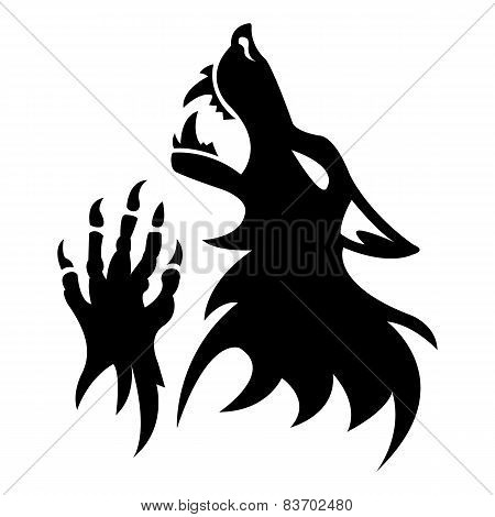 Vector werewolf stencil. Black tattoo.