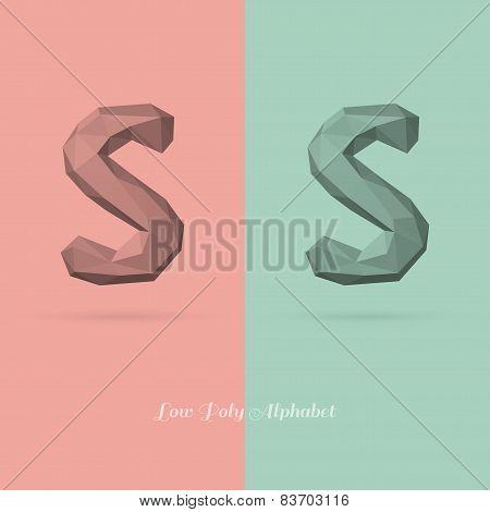 Polygonal Flat Alphabet Letter S