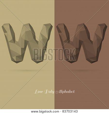 Polygonal Flat Alphabet Letter W