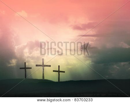 Amazing three crosses against dramatic red sky