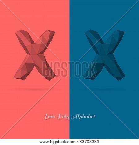 Polygonal Flat Alphabet Letter X