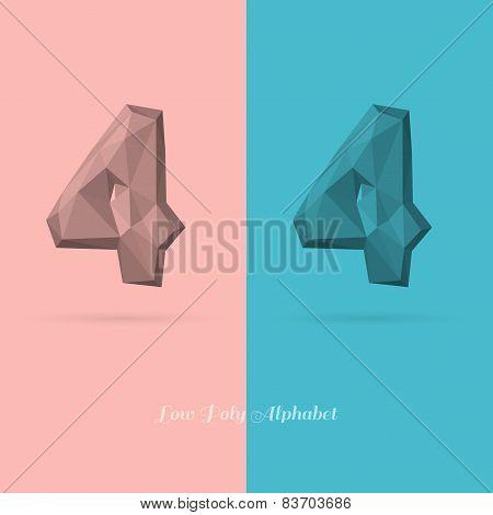 Polygonal Flat Alphabet Number 4