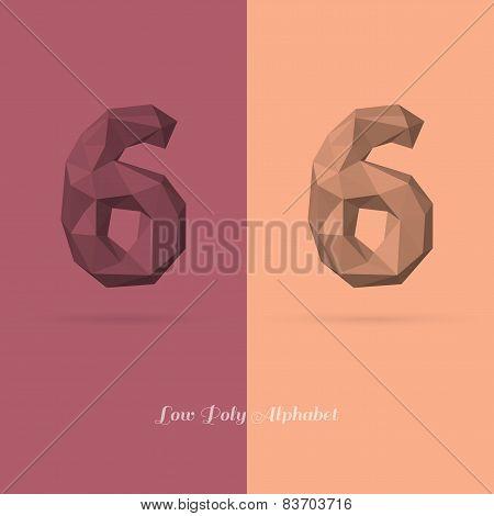 Polygonal Flat Alphabet Number 6