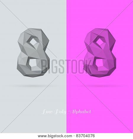 Polygonal Flat Alphabet Number 8