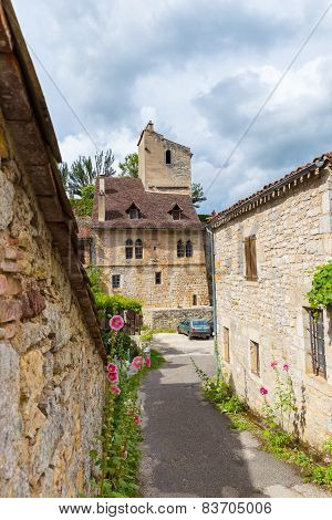 Street In Saint-cirq-lapopie In France