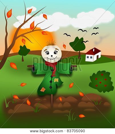 Autumn Landscape With Scarecrow