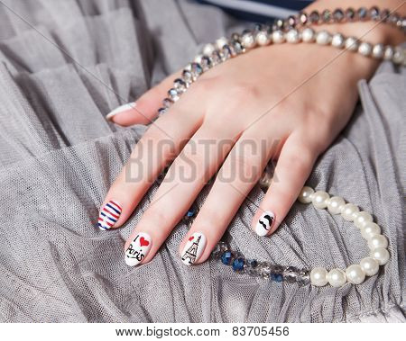 Closeup Of Trendy extravagant Nails