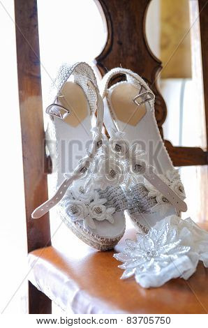 Wedding Shoes Placed On A Chair Front View