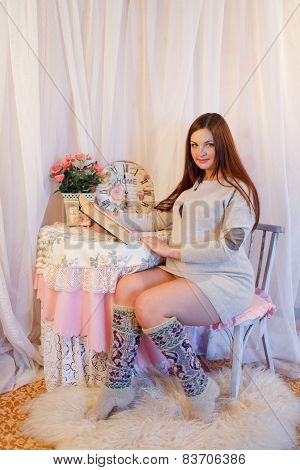 Home portrait of pregnant woman