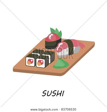 Delicious Sushi Set ,food icons ,Japanese food.