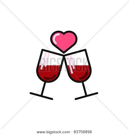 love card with two wine glasses.