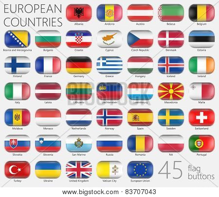 European Flags. Buttons Icons