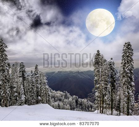 View From Mount In Krasnaya Polyana In The Light Of The Full Moon, Sochi, Russia