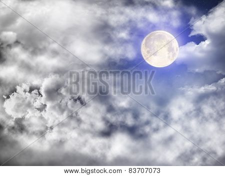 Full Moon In Sidereal Cloudy Sky
