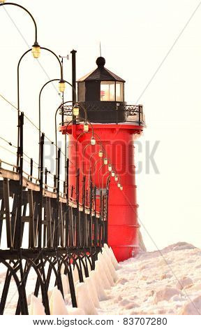 Red Lighthouse on White Background
