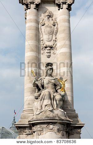 Detail of the Alexandre III bridge in Paris