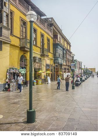 Colonial Style Street Of Lima