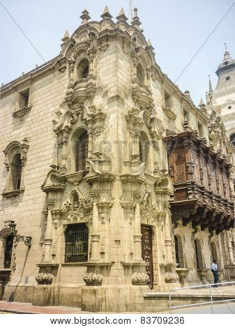 Ornated Building In Plaza Mayor Of Lima In Peru