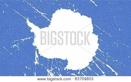 Flag Of Antarctica With Old Texture. Vector